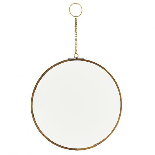 MADAM STOLTZ / Závesné okrúhle zrkadlo Antique brass