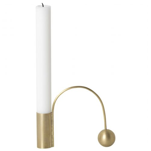 ferm LIVING / Kovový svícen Brass Balance Candle Holder