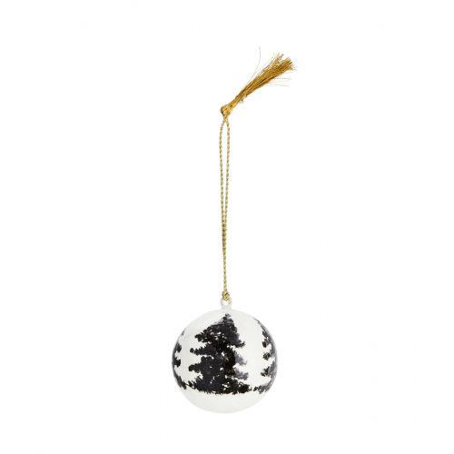 MADAM STOLTZ / Vianočná ozdoba Trees White - 4 cm