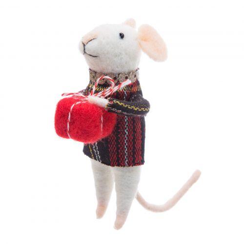 sass & belle / Plstená vianočná ozdoba Tartan Mouse