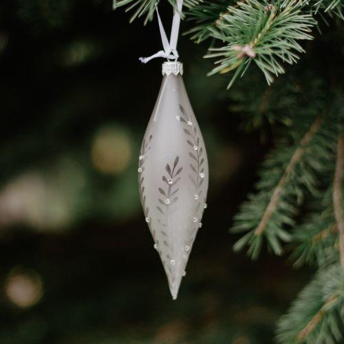 GLASSOR / Vianočná ozdoba Crystal Clear Grey Matt 16 cm