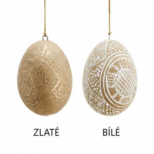 MADAM STOLTZ / Veľkonočné vajíčko Handpainted Gold/White