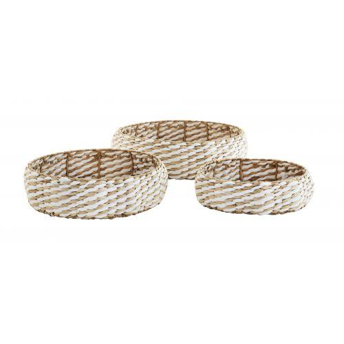 MADAM STOLTZ / Úložný prepletaný košík Grass Natural White