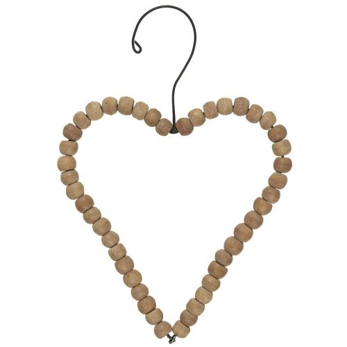 IB LAURSEN / Závesná drevená dekorácia Heart Wooden Beads - větší