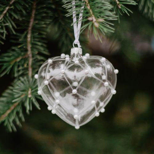 GLASSOR / Sklenená vianočná ozdoba Pearls Matt - srdce