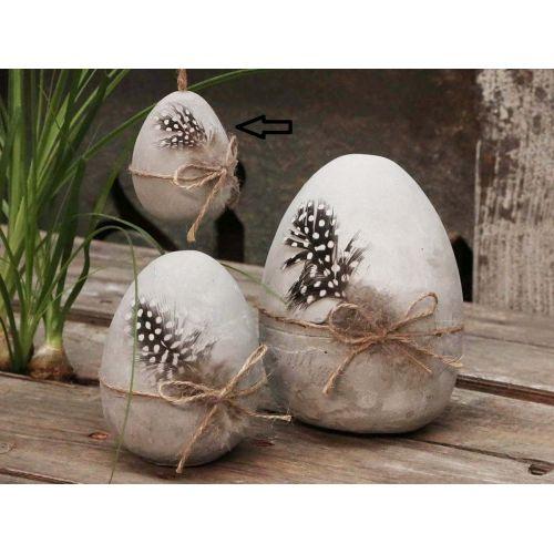 Chic Antique / Betónové veľkonočné vajce s pierkom