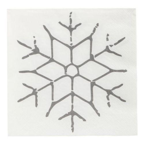 House Doctor / Papierové obrúsky Black Snowflake 40 ks