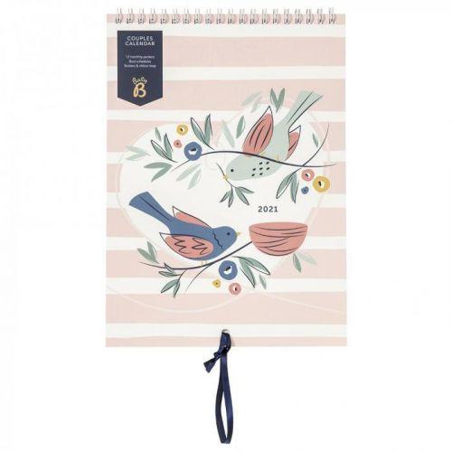 Busy B / Nástenný kalendár pre páry Birds 2021