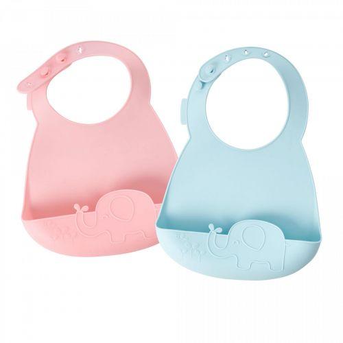 rice / Detský silikónový podbradník Pink/Blue