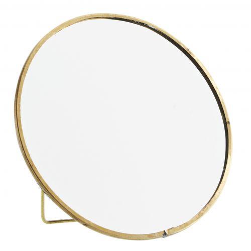 MADAM STOLTZ / Okrúhle stolné zrkadlo s opierkou Antique Brass - väčšie