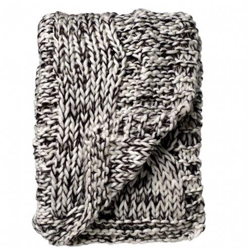 Bloomingville / Pletený přehoz Black/white 125x150 cm