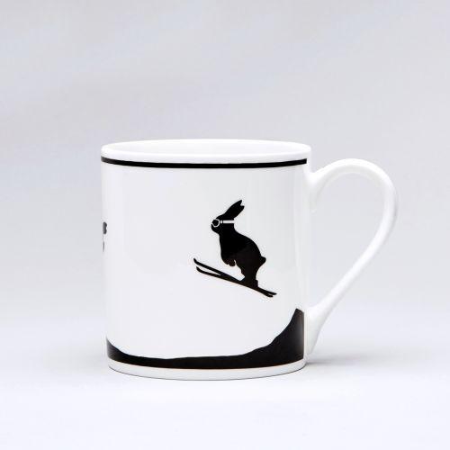 HAM / Porcelánový hrnček Ski Jumping Rabbit