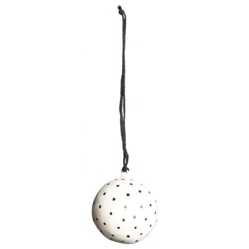 IB LAURSEN / Vianočná mini ozdoba Ball White/black dot