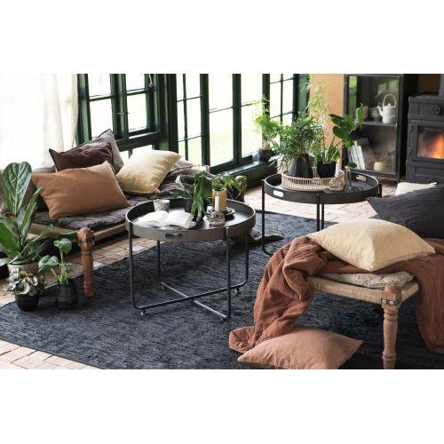 IB LAURSEN / Kožený koberec Black 250x300 cm