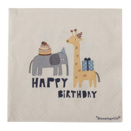 Bloomingville / Papierové obrúsky Happy Birthday 20ks