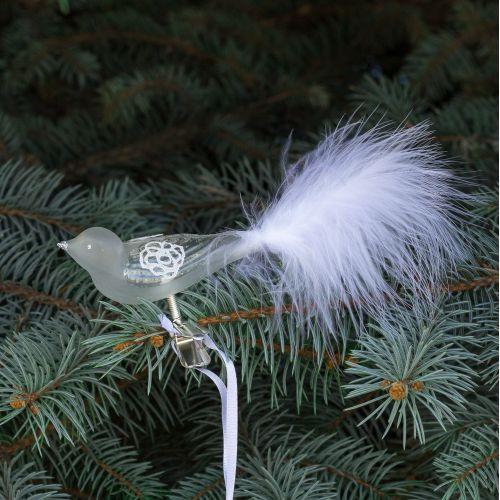 GLASSOR / Sklenený vtáčik na štipci Rose White