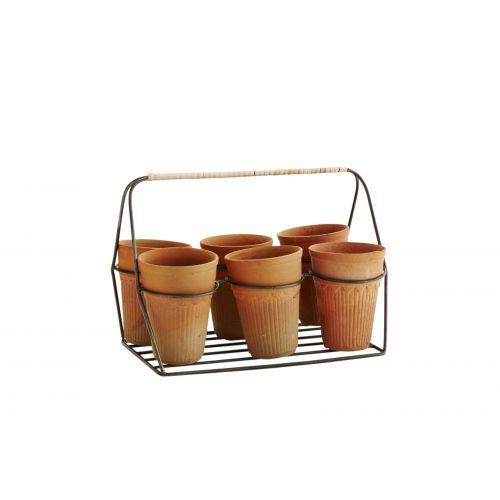 MADAM STOLTZ / Zinkový košík s kvetináčikmi