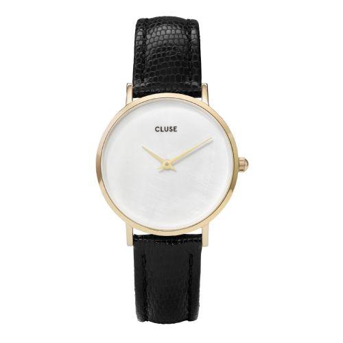 CLUSE / Perleťové hodinky Cluse Minuit La Perle Gold White Pearl/Black Lizard
