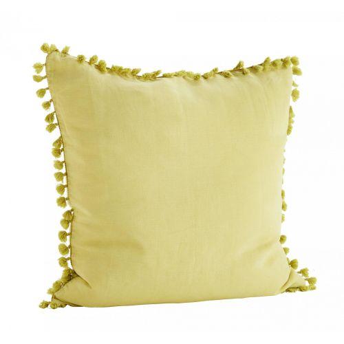 MADAM STOLTZ / Ľanová obliečka na vankúš Lemon 60x60 cm