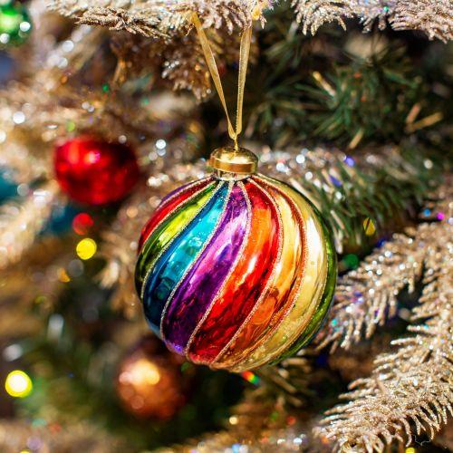 sass & belle / Sklenená vianočná ozdoba Spiral Rainbow