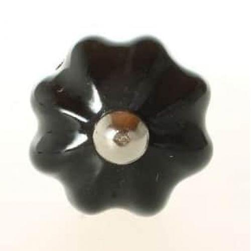 La finesse / Porcelánová úchytka Black Flower