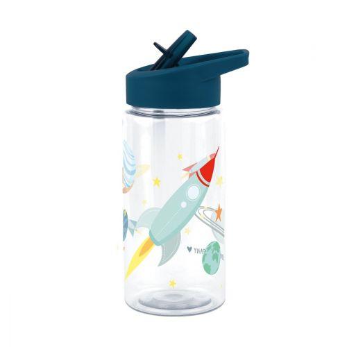 A Little Lovely Company / Detská fľaša so slamokou Space 450ml + samolepky