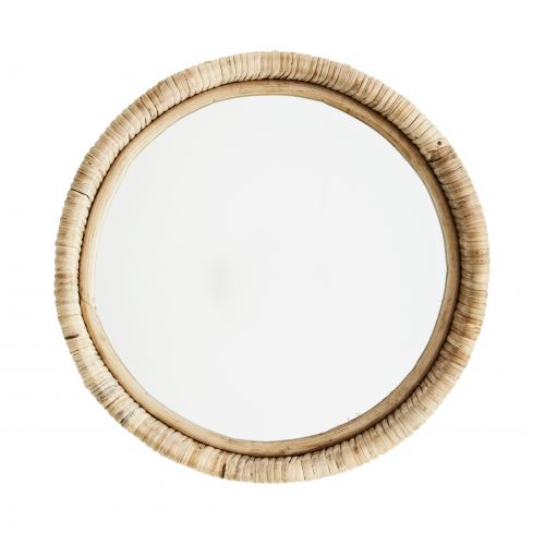 MADAM STOLTZ / Okrúhle zrkadlo v bambusovom ráme Natural