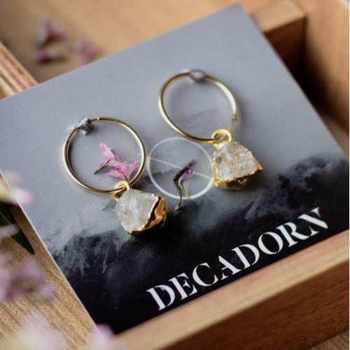 DECADORN / Krúžkové náušnice Thick Clear quartz/Gold