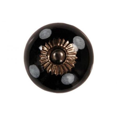 La finesse / Porcelánová úchytka Black/ white dots