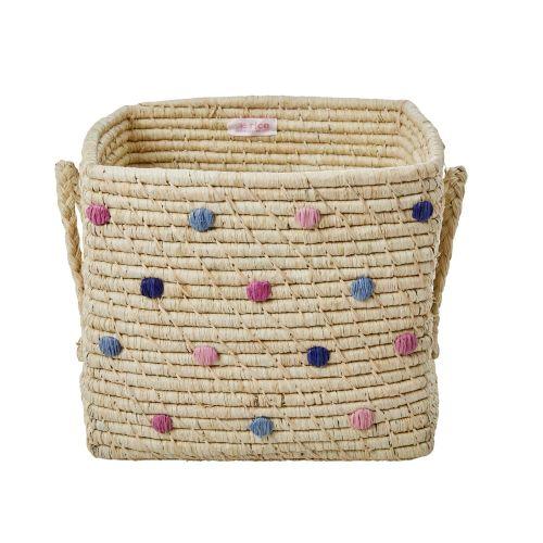 rice / Štvorcový ručne pletený košík Dots