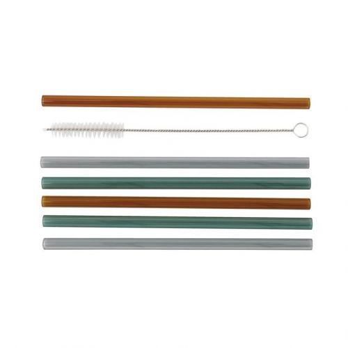 House Doctor / Sklenené slamky Vaca s kefkou - set 6ks