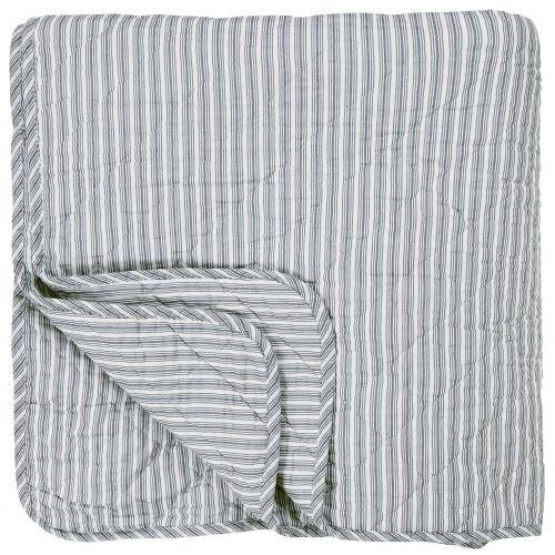 IB LAURSEN / Prešívaný bavlnený prehoz Dusty Blue Stripes 130x200