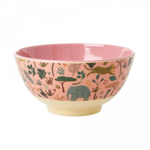 rice / Melamínová miska Pink Jungle Animals