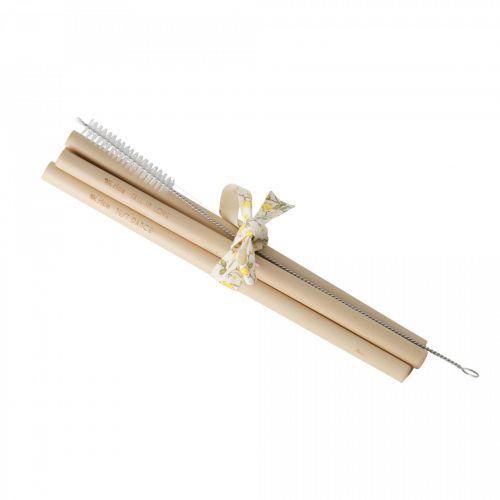 rice / Bambusové slamky s kefkou - set 4 ks
