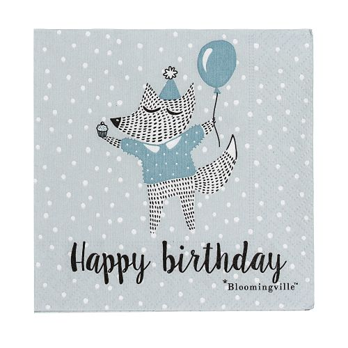 Bloomingville / Papierové obrúsky Happy Birthday Blue - menšie