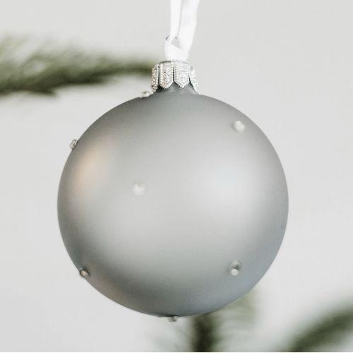 GLASSOR / Sklenená vianočná ozdoba Stones Grey - 6 cm