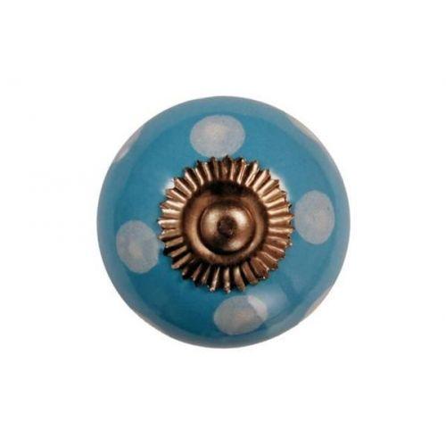 La Finesse / Porcelánová úchytka Blue/white dots