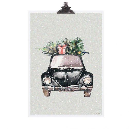 TAFELGUT / Plagát Christmas Car 30x42 cm