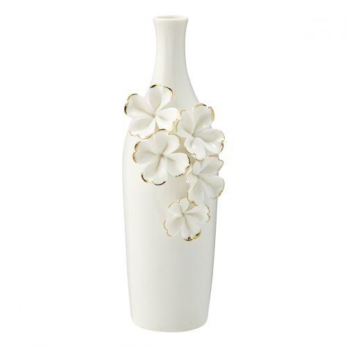 GREEN GATE / Keramická váza Flower White & Gold Slim