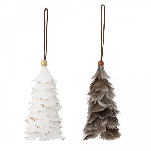 Bloomingville / Vianočná ozdoba Feather Grey/ White 14 cm