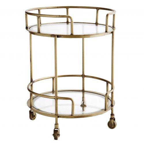 MADAM STOLTZ / Okrúhly stolček na kolieskach Antique brass