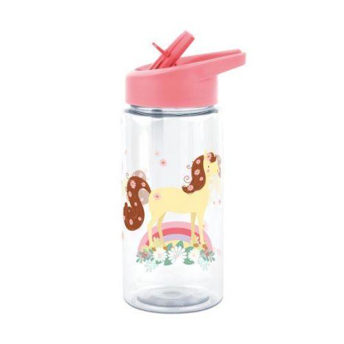 A Little Lovely Company / Detská fľaša so slamkou Horse 450ml + samolepky