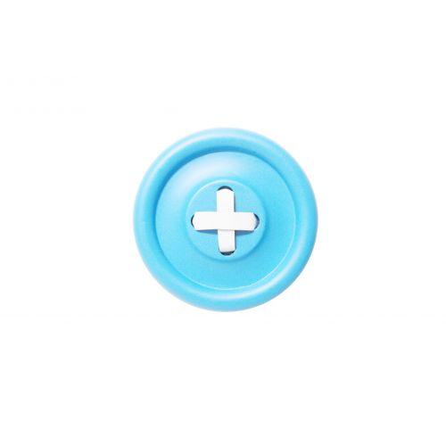 HK living / Drevený vešiak Button Blue/white 18 cm