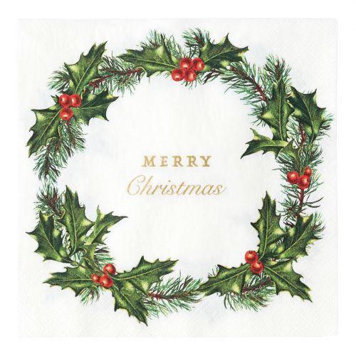 Talking Tables / Papierové obrúsky Holly Wreath 33 × 33 cm