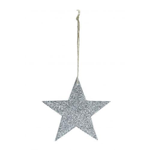 House Doctor / Třpytivá závěsná hvězdička Silver Glitter 8 cm