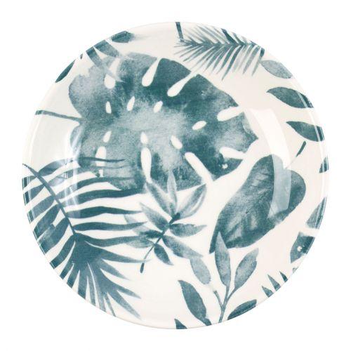 CÔTÉ TABLE / Hlboký keramický tanier Blue Leaf Printing