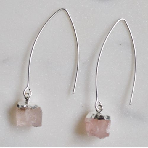 DECADORN / Visací náušnice Mini Rose Quartz/Silver