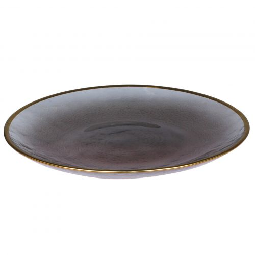 Chic Antique / Sklenený tanier Grey Golden Edge 20 cm