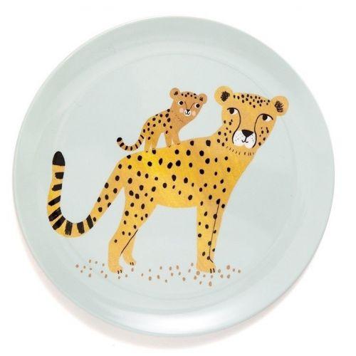 PETIT MONKEY / Detský melamínový tanier Leopard Aqua