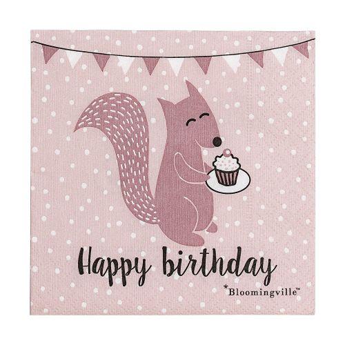 Bloomingville / Papierové obrúsky Happy Birthday Rose - menšie